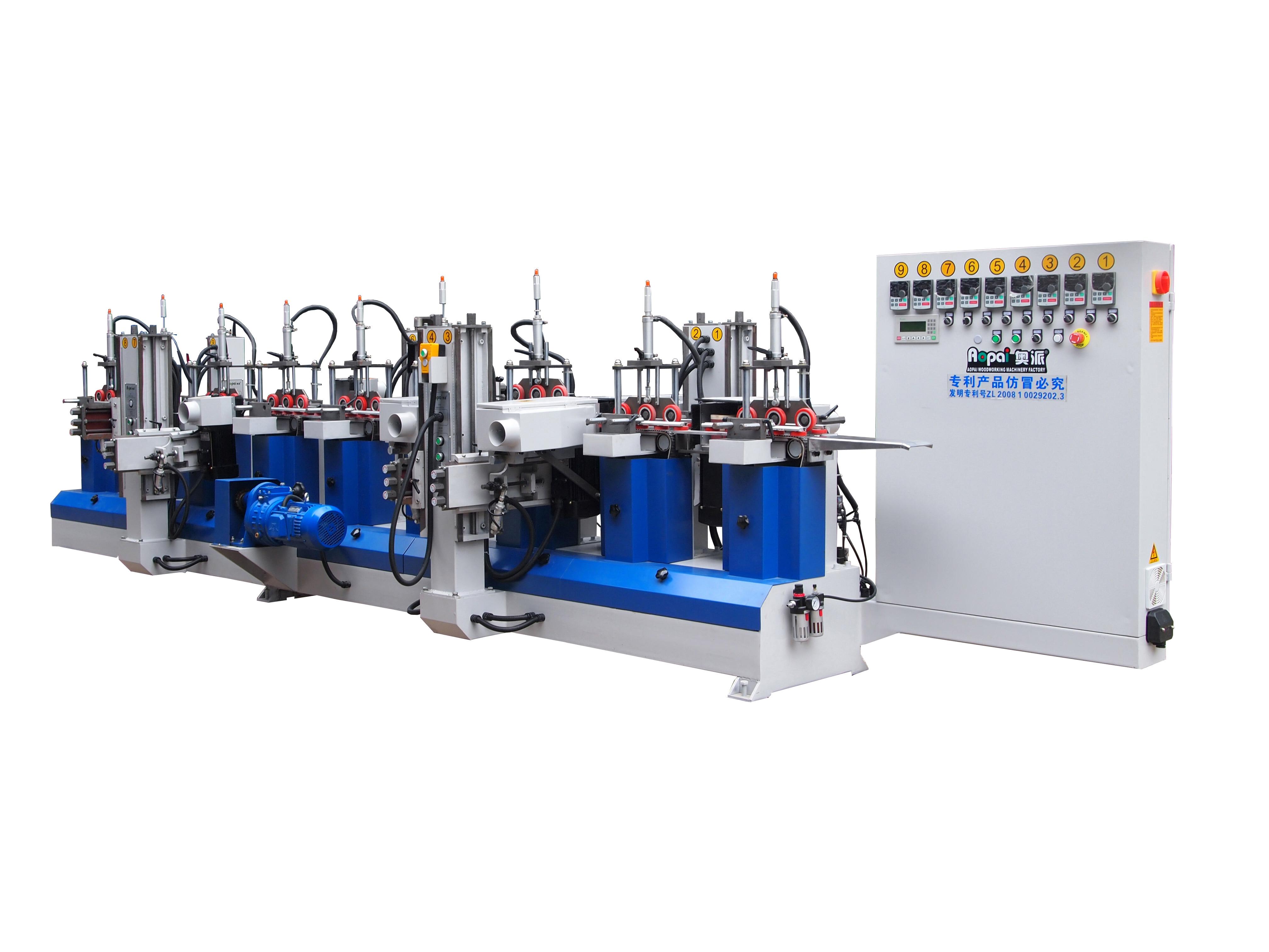 奥派 专利款砂光机 采用多点分段多角度压料方式 木工机械设备生产产家 4H5W 异形线条砂光机